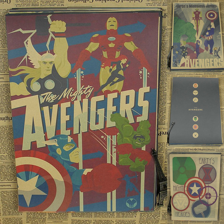 Superheroes The Avengers Comics Movie Posters Vintage Anime Poster Wall  Stickers For Kids Rooms Home Decor