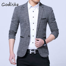 GODLIKE 2018 foreign trade new men's clothing cotton and linen fashion business leisure trim trend suit jacket(China)