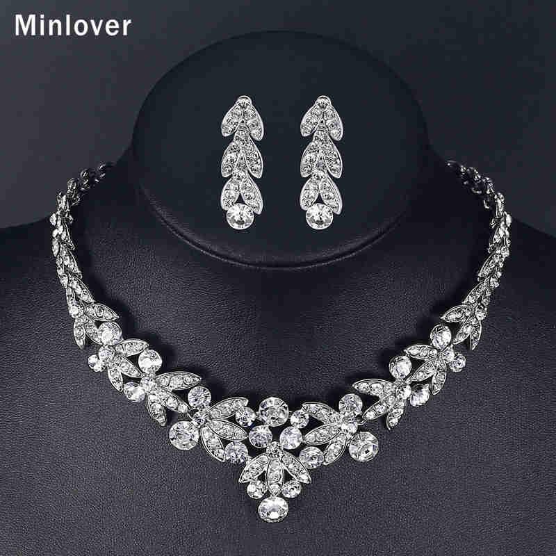 Minlover Luksuzni srebrni barvni kristalni nakit za poročne obleke - Modni nakit - Fotografija 6