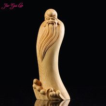 JIA-GUI LUO Boxwood Carvings Bags Monks Maitreya Buddha Gift Collection Birthday Woodcarving A015