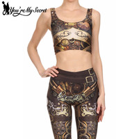 You Re My Secret 2017 Fashion Steampunk 3D Digital Print Woman Cropped Crop Top Sexy