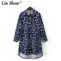 LINSHOW Navy Polka Dot Printed Woman Long Shirts Full Sleeve Turn Down Collar Womens Tops And