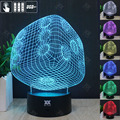 HUI YUAN Plug 3D Night Light RGB Changeable Mood Lamp LED Light DC 5V USB Decorative Table Lamp Get a free remote controller