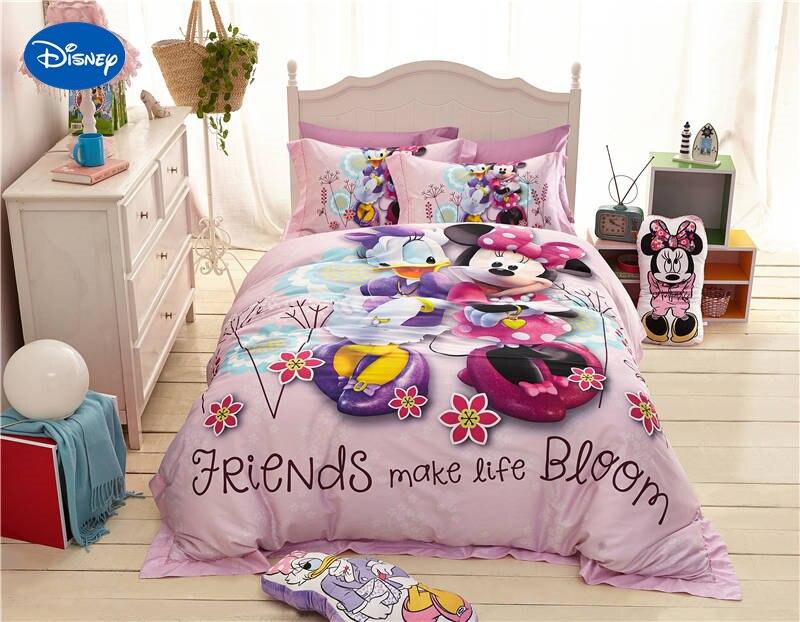 Disney Cartoon Minnie mouse et Donald canard imprimé ensembles de literie pour fille chambre décor soie Satin lit couette couvre double reine