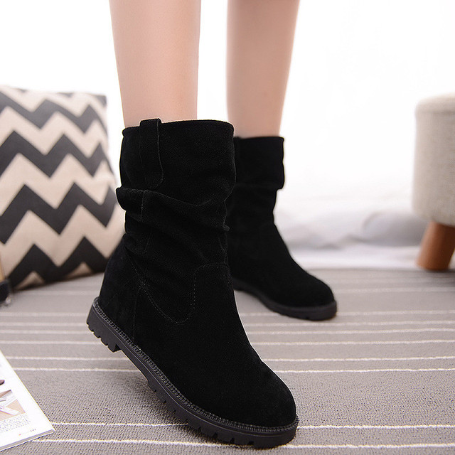 Women Boots Shoe Inside Height Increasing Autumn Winter Suede Mid-calf Boots Fashion Black Red Knight Slip-on Flat Half Shoes