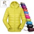 Mulheres ultra leve com capuz para baixo casaco de inverno pato para baixo casacos mulheres fino casaco de manga longa bolsos do casaco zip 11 cor sólida