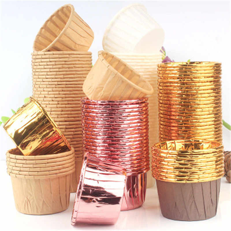 10pcs Golden มัฟฟินคัพเค้กถ้วยกระดาษ Oilproof Cupcake Liner ถ้วยเบเกอรี่ถาด Wedding Party Caissettes Cupcake Wrapper กระดาษ