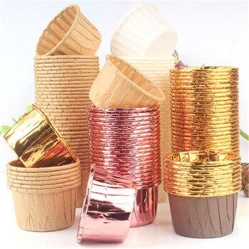 10 шт., золотой Маффин, бумажный стаканчик для кексов, маслостойкий чехол для кексов, подставка для выпечки, для свадебной вечеринки, обертка для кексов