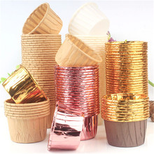 10pcs Golden Muffin Cupcake Paper Cup Oilproof Liner Baking Tray Case Wedding Party Caissettes Wrapper