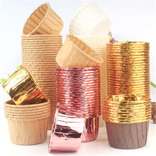 10pcs Golden มัฟฟินคัพเค้กถ้วยกระดาษ Oilproof Cupcake Liner ถ้วยเบเกอรี่ถาด Wedding Party Caissettes Cupcake Wrapper กระดาษ(China)