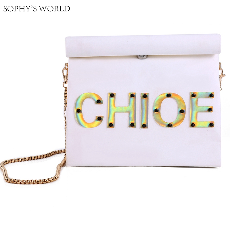 Customized Letters Women's Handbag Personality Bag Kraft Paper Runway Clutch Bag Chains Shoulder Bag Roll Rim Party Purse 25 33 8cm kraft paper gift bag festival paper bag with handles fashionable jewellery bags wedding birthday party