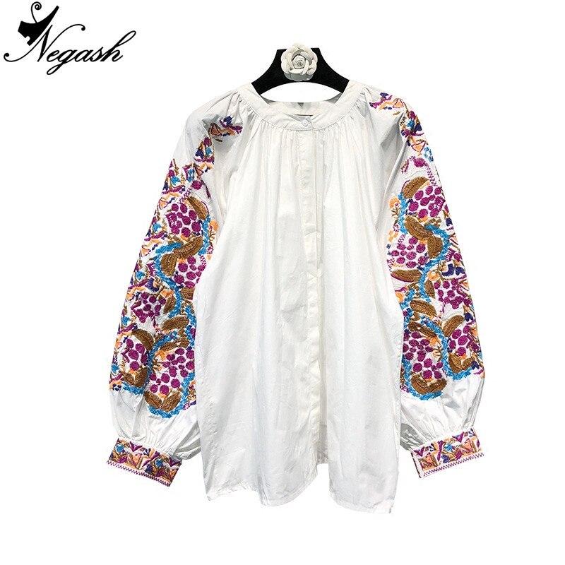 Plus Manches Blouses Lanterne Hevy Printemps Chemises 2018 Lâche Blusas Femmes Taille Tops De Coton Broderie Été Vintage Florale La 4vPwOq6