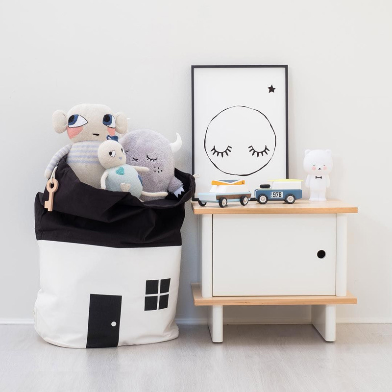 Baby Play Mat Cute House Storage Bag Large Capacity Children Kids Baby Pure Cotton Canvas Toys Beam Port Pouch Organizer Bag 3