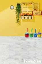 "Yellow Wall Photography Vinyl Backdrops 5x7ft Digital Printing ""love"" Photo Cute Bears Decor Muslin Background Props White Floor"