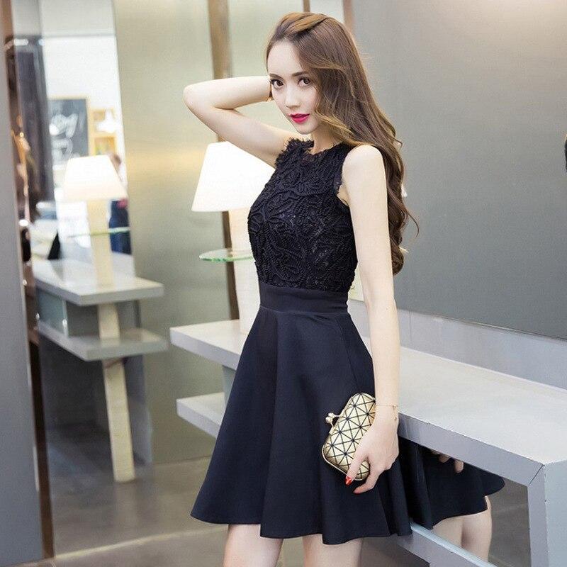 liva girl noble elegant dresses crochet sundress lace splicing slim dress for party for night club Korean style