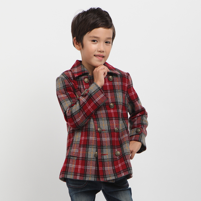 New Freeshipping Autumn winter Blue red Plaid Children Child Boy Kids fleece woolen long sleeve Coat jacket outwear PEDS08P05