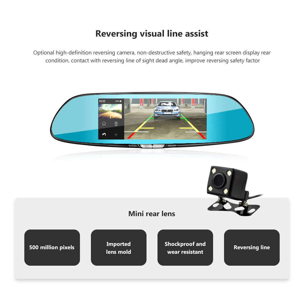 Image 3 - AOSHIKE 7 Inch Rearview Mirror Driving Recorder 1080P High Definition Night Vision Double Recording Reverse Driving  Car DVR-in DVR/Dash Camera from Automobiles & Motorcycles