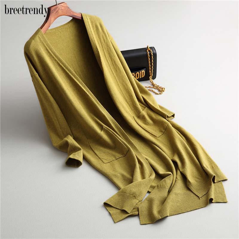 Women Brief Solid Color V Neck Double Pockets Front Short Back Long Cardigan Ladies Side Split