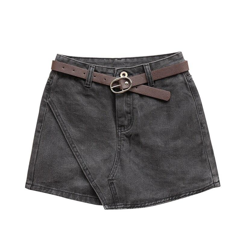 Taille basse Denim femmes Mini a-ligne jupe Shorts lavé Jeans jupes femmes 2019 d'été boutons Shorts