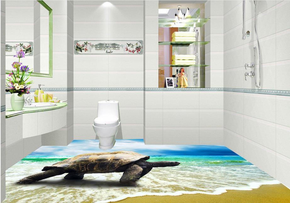 ФОТО 3d floor murals wallpaper custom vinyl sticker roll  Sea turtle 3d floor painting waterproof wallpaper for bathroom