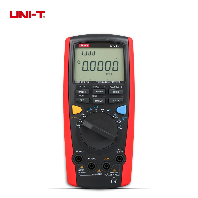UNI-T UT71C LCD Intelligent Digital MultiMeters True RMS AC DC Volt Ampere Ohm Capacitance Temp Meter With Double Backlight uni t ut39e general manual range digital multimeters ut 39e transistor dc ac volt ampere resistance capacitance frequency meter