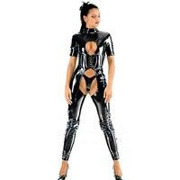 Women Short Sleeve Sexy Shiny PVC Catsuit Strappy Open Crotch PU Jumpsuit Bondage Slim Crotchless Body Suits Fetish Costume