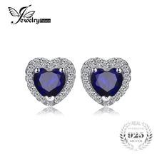 Jewelrypalace Сердце океана 1.2ct создан синий сапфир серебро 925 Серьги-гвоздики Красивые ювелирные изделия для Для женщин