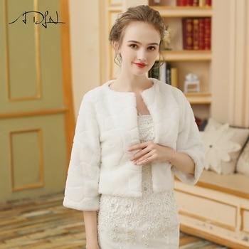ADLN Wedding Jacket Wrap Bridal Bolero Winter Wraps Coat Stole Faux Fur Fabric For Brides Womens