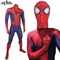 Линь bultez Высокое качество 3D паутины Человек паук костюм Удивительный Человек паук костюм с 3D паук Человек паук Fullbody костюм для вечеринки