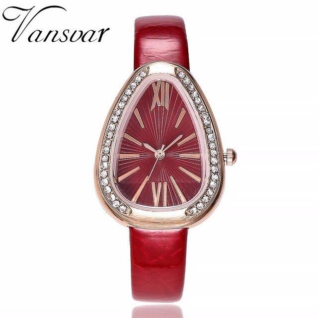 Fashion Women Rhinestone Watches Casual Leather Irregular Shape Watches Ladies C