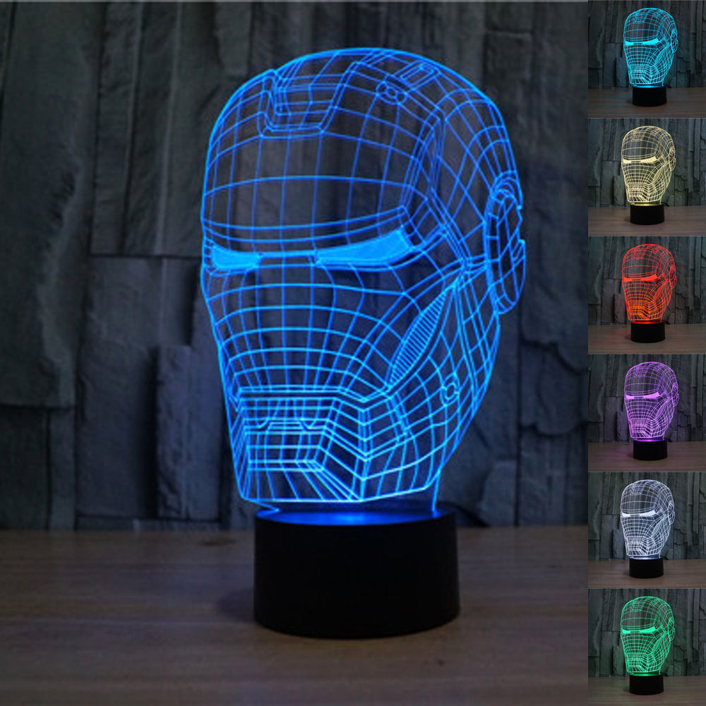 Kids Bedroom At Night the avengers super hero iron man mask 3d lamp led night light