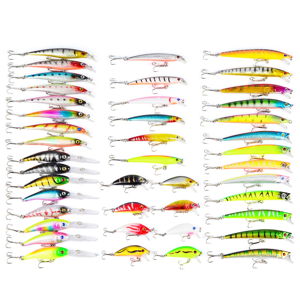 43 Pcs/ Set Minnow Fly Fishing Lure Sets Hard Bait Lures Wobbler Carp 6 Models Aritificial Fishing Tackles ALS88 wldslure 1pc 54g minnow sea fishing crankbait bass hard bait tuna lures wobbler trolling lure treble hook