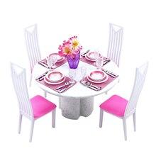 Мебель для Барби, столовая, Миниатюрный белый фарфоровый обеденный стол, игровой набор с 4 комплектами столовых приборов, стульев для куклы 1/6