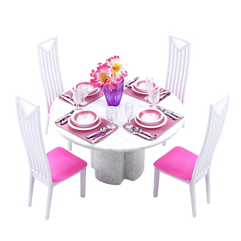 For Barbie Furniture Dining Room Miniature White Porcelain Dining Table Play Set with 4 set Tablewares Chairs for 1/6 Doll