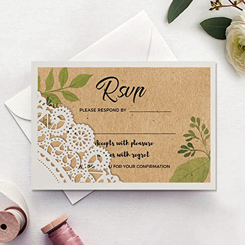 Lace RSVP Cards, Unique Wedding Reply Card Rustic Kraft