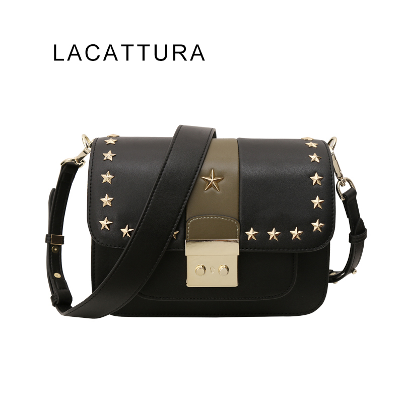 LACATTURA 2017 New Arrival Brand Design Women Messenger Bag Real Cowskin Small Flap Rivet Star Single Shoulder Bag Free Shipping free shipping new fashion brand women s single shoulder bag lady messenger bag litchi pattern solid color 100