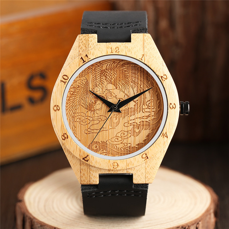 Handmade Engraving Phoenix Face Bamboo Wood Watch Casual Carving Numbers Mens Genuine Leather Sports Clock Gifts Reloj de madera 2017 pink color wood watch women simple fashion analog casual bamboo wrist watch with genuine leather clock reloj de madera
