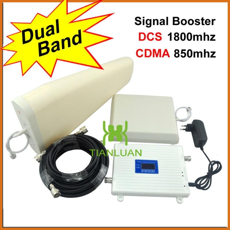 Amplificateur cellulaire de répéteur de Signal de téléphone portable de 1800 Mhz 850 Mhz avec l'antenne de panneau/antenne périodique de journal
