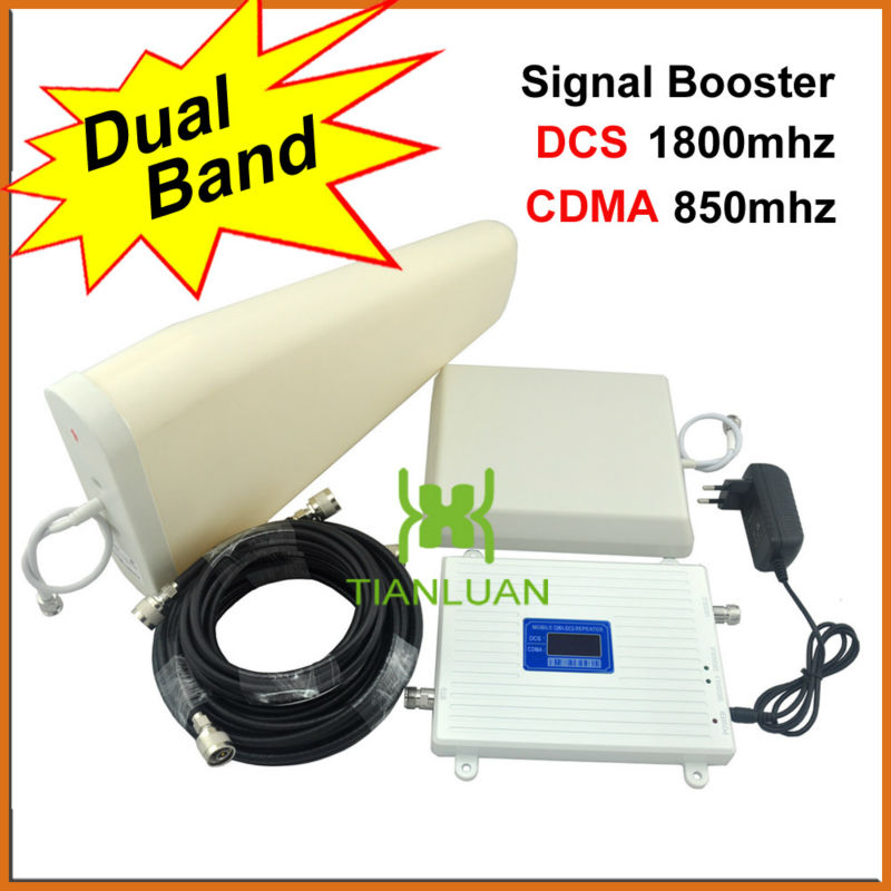 LCD DCS CDMA Boosters 1800Mhz 850Mhz Mobile Phone Signal Repeater Cellular Amplifier with Panel Antenna / Log Periodic AntennaLCD DCS CDMA Boosters 1800Mhz 850Mhz Mobile Phone Signal Repeater Cellular Amplifier with Panel Antenna / Log Periodic Antenna