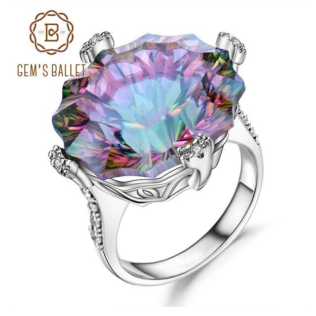 GEMS balet Natural Rainbow Mystic kwarcowy pierścionek koktajlowy 925 Sterling Silver nieregularne pierścienie z kamieniami szlachetnymi Fine Jewelry dla kobiet