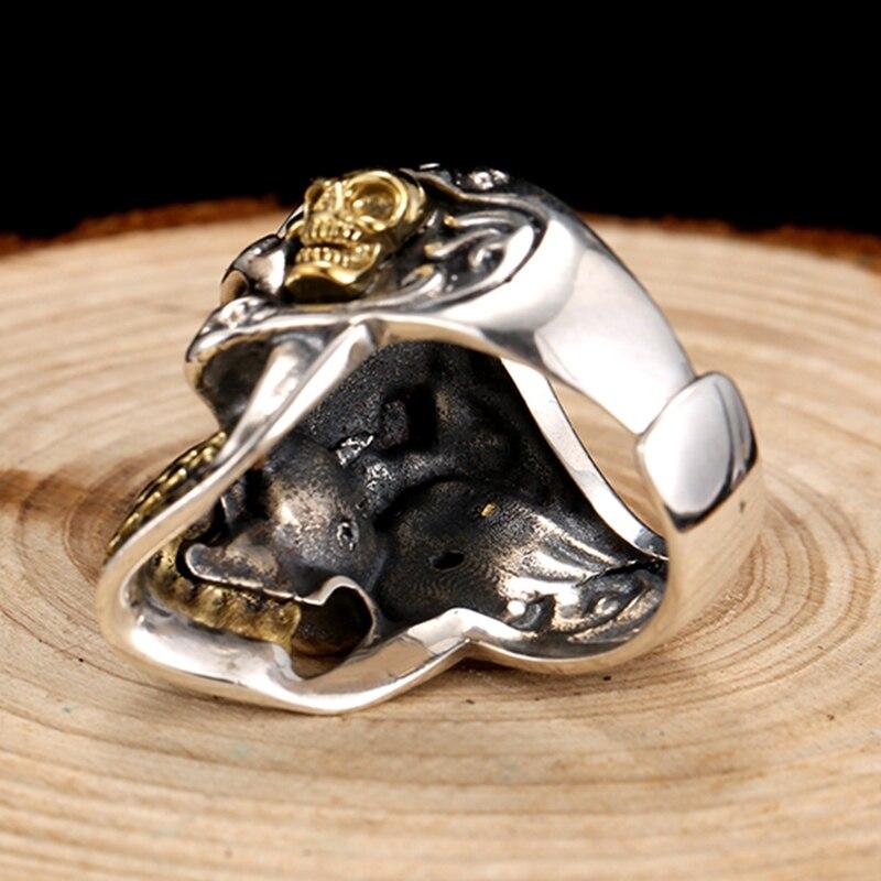 ZABRA 925 argent Sterling rouge zircon cubique yeux crâne anneau mâle or réglable anneaux pour hommes Punk gothique bijoux - 5