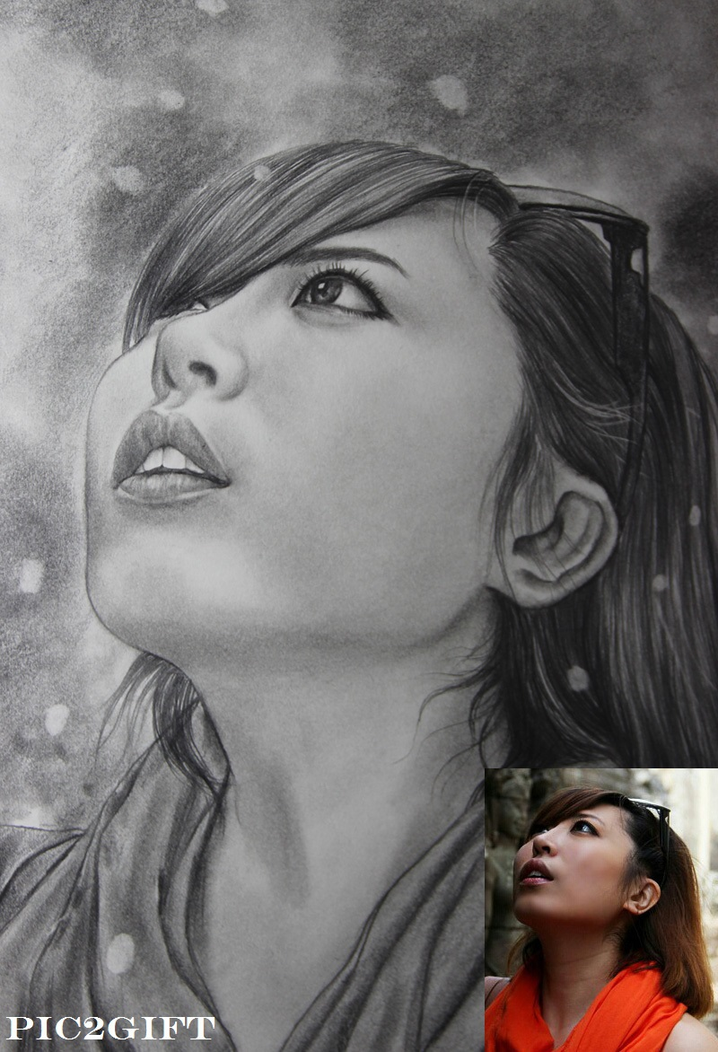 Handmade pencil sketch painting drawing from your photo best gift idea m size black white di painting calligraphy dari rumah taman aliexpress com