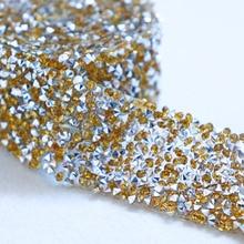 3cm Gold Beaded Rhinestons Trim Iron On Diamond Crystal Ribbon Wrap Dress Sewing Accessories DIY Wedding Party Decorations