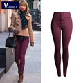 Woman Pencil Casual Dark Red Denim Stretch Skinny 2016 Spring Fashion Female Jeans Pants Plus Size Skinny Jeans For Women