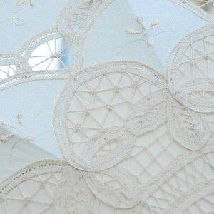 Image 5 - QUNYINGXIU Handwerk Spitze Weiß Dach Baumwolle Dekoration Hochzeit Fotografie Prop Europäischen dance Leistung Stickerei Regenschirm