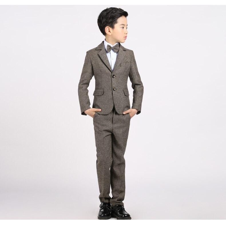 Chaqueta + Chaleco + Pantalones + Camisa + corbata de lazo) Boy Slim Fit Trajes