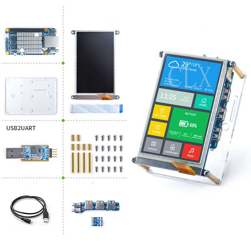 NanoPi Fire3 Starter KIT S5P6818 1.4GHz CPU 1GB DDR3 GPIO Port, With S430 4.3inch Touch LCD, Support Android Debian FriendlyCore