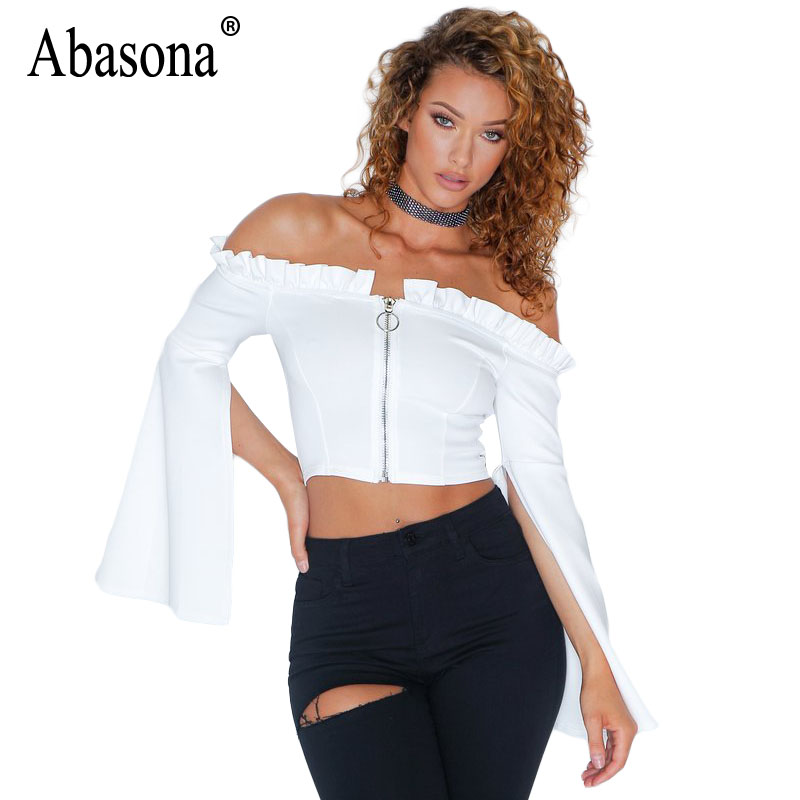 Abasona Zipper Up Tank Top Tees Women Flare Sleeve Ruffles Crop Tops Women Casual Spring 2018 Streetwear White Shirt Ladies Tops
