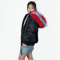 Winter New Black Bomber Jacket with white artificial fur inside removable hooded raccoon fur collar Bombers