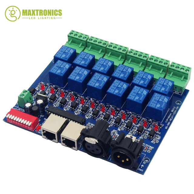 12CH ממסר מתג dmx512Controller RJ45 XLR, ממסר פלט, DMX512 ממסר שליטה, 12way ממסר מתג (max10A) עבור led